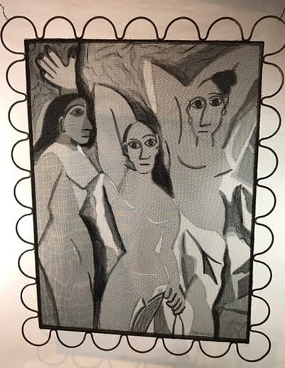 Homage to Les Demoiselles d'Avignon by Picasso made with layered, stitched and textured aluminum screen stretched on an salvage metal frame.